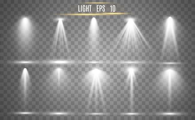 舞台照明用のサーチライトコレクション、光透過効果。スポットライト付きの明るく美しい照明。