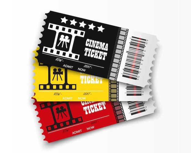 透明な背景に映画のチケット。リアルな映画の入場券。