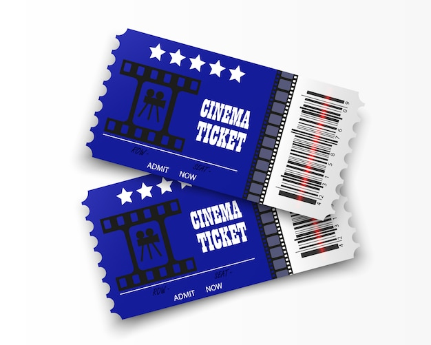 透明な背景に分離された映画のチケット。リアルな映画の入場券。