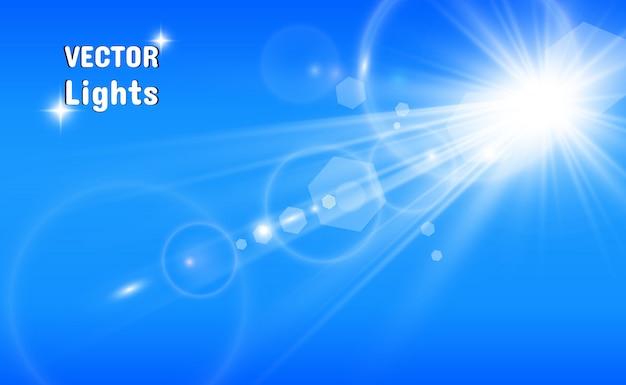 Специальная линзовая вспышка, световой эффект. вспышка мигает лучами и прожектором. ил. белый светящийся свет. красивая звезда свет от лучей. солнце с подсветкой. яркая красивая звезда. солнечный свет. блик.