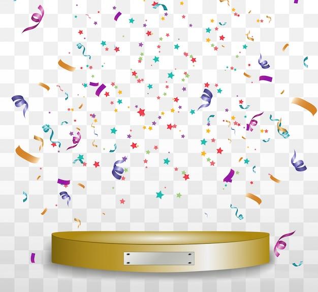 カラフルな小さな紙吹雪と透明な背景にリボン。お祝いイベントとパーティー。
