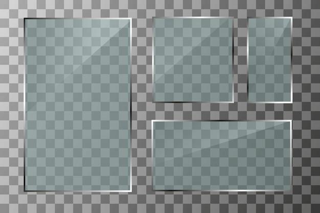 Стеклянные баннеры на прозрачном фоне. пустой прозрачный стеклянный каркас. чистый фон.
