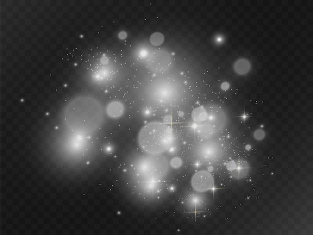 Белый красивый свет взрывается прозрачным взрывом. вектор, яркие иллюстрации для идеального эффекта с блестками. яркая звезда. прозрачный блеск градиента блеска, яркая вспышка