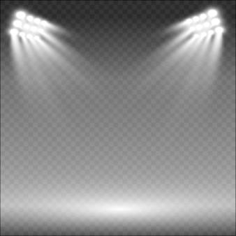 Прожекторы стадиона ярко освещают