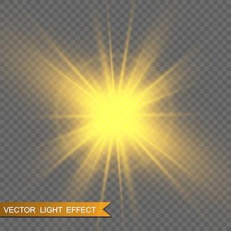 Золотые блестки, магия, яркий световой эффект на прозрачном фоне. золотая пыль.