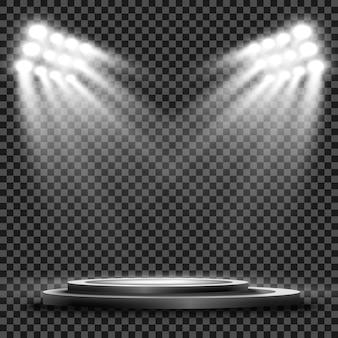 Прожекторы стадиона ярко освещают вечерние или ночные спортивные игры, концерты, шоу, мероприятия. изолированные на прозрачном фоне. арены ярких прожекторов. яркие огни. освещенная сцена.