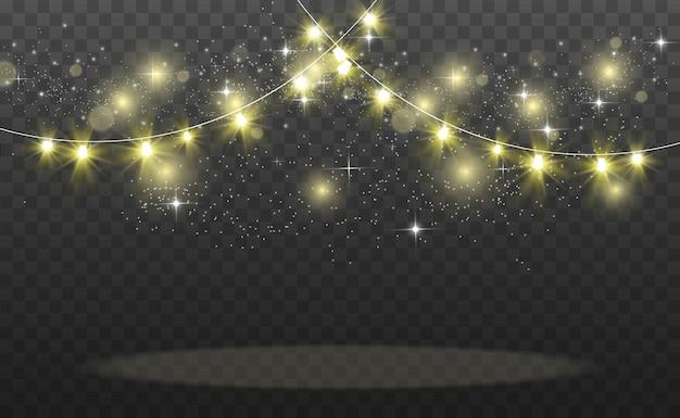 クリスマスの明るく美しい照明、要素。クリスマスのグリーティングカードの白熱灯。花輪、軽いクリスマスの装飾。