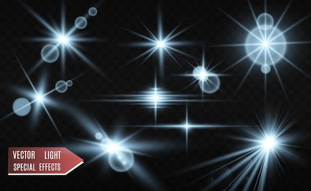 明るく美しい星のセット。光の効果。輝く星。イラストの美しい光。クリスマスの星。白い輝きが特別な光の効果を放ちます。ベクトルは透明な背景の上で輝きます。