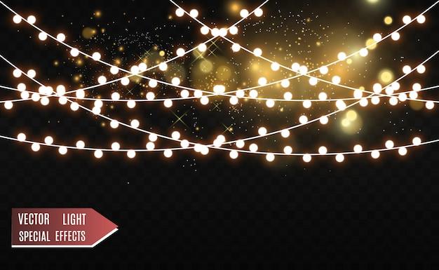 Рождество яркие, красивые огни, элементы. светящиеся огни для рождественских открыток. гирлянды, легкие елочные украшения.