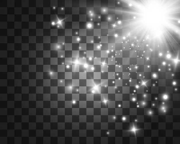 Белый красивый свет взрывается прозрачным взрывом. , яркий для идеального эффекта с блестками. яркая звезда. прозрачный блеск градиента блеска, яркая вспышка.