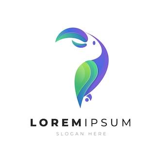 カラフルな抽象的なオウム鳥ロゴのプレミアムイラスト