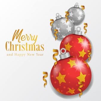赤いボールと銀のボールでクリスマス