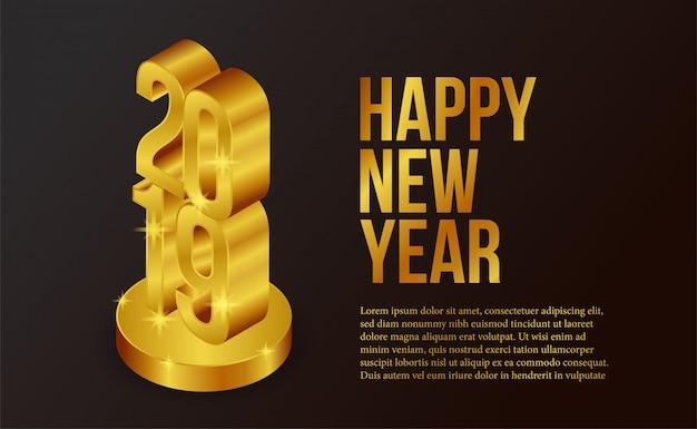 Изометрический золотой шаблон нового года