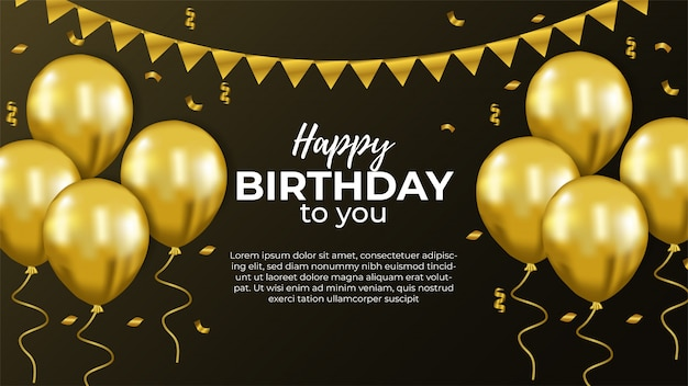 С днем рождения приглашение с золотым шаром