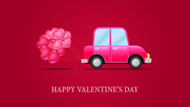 バレンタインデーの車の愛のバナーのテンプレート