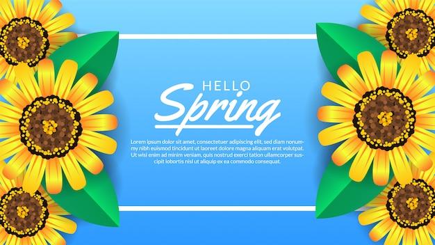 こんにちは春バナーテンプレート花