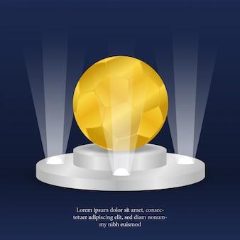 表彰台にチャンピオンのための現実的な黄金のボールの牙