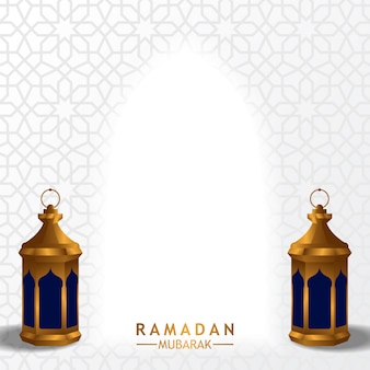 Золотой веерный арабский фонарь с белым фоном для рамадана