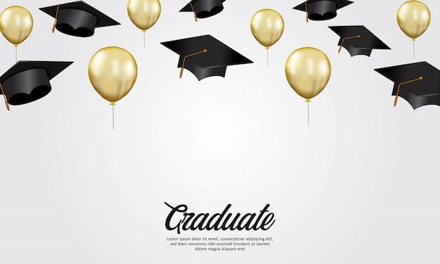 キャップのイラストと教育コンセプト卒業パーティーバナー