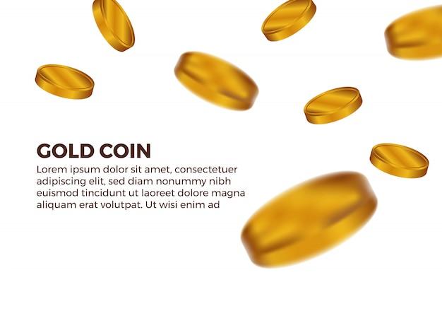 空から黄金のコインを落下