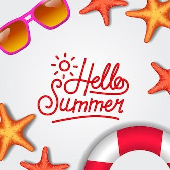 こんにちは夏のヒトデとトップビューから熱帯