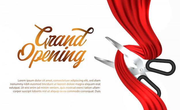 赤い絹のリボングランドオープンセレモニー