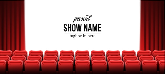 シネマ映画館で赤い空席を持つ現在のショー名テンプレート