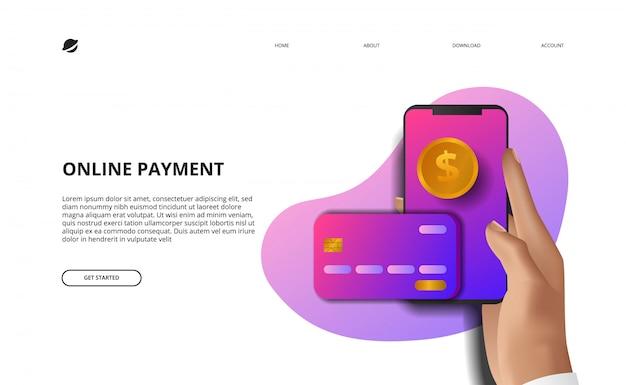 Онлайн оплата целевой страницы иллюстрации бизнес финансы электронной коммерции концепция