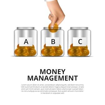 手でお金管理の概念を瓶に黄金のお金を入れて