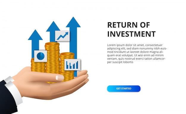 金融の黄金のコインを持っている手で投資成長成功矢印のリターン