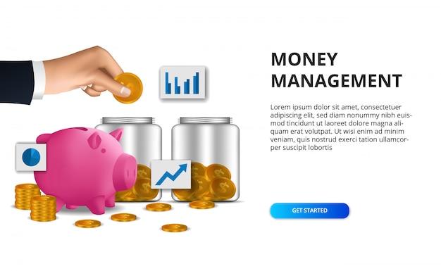 Золотая монета диверсификации финансов управления деньгами со стеклянной бутылкой и розовой копилкой
