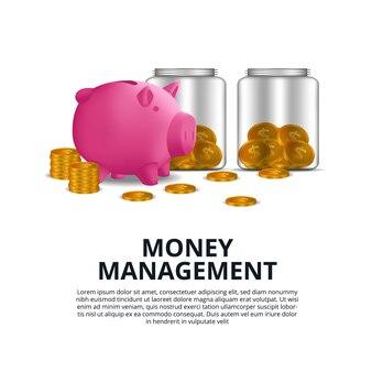 黄金のコインとピンクの貯金箱とガラス瓶