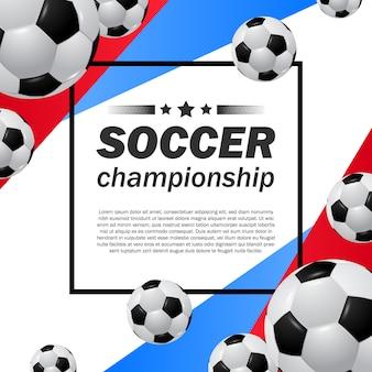 Шаблон плаката чемпионата кубка лиги по футболу с реалистичным мячом и синим красным цветом