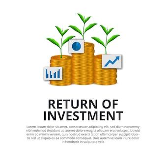 株式市場の黄金のコインのドルと植物の木の成長を投資投資の成長のリターン