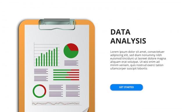 チャートとグラフを含む財務レポート用スプレッドシート。事業コンセプト。マーケティング、監査、研究、事例研究のためのデータ分析。