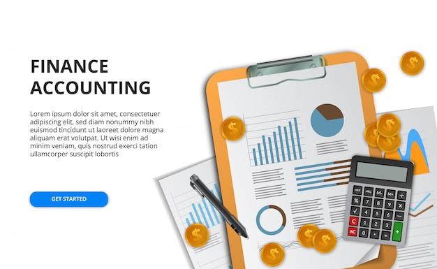 財務、マーケティング、研究、プロジェクト管理、監査のレポートデータ分析のビジネスコンセプト。