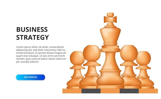 ビジネス戦略。成功のための戦術的な財政目標計画。チェス盤上のチェスの駒のイラスト。