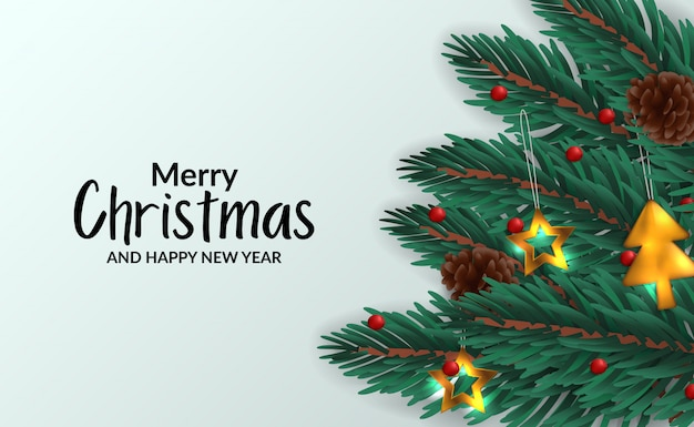 Рождественский баннер шаблон плаката с иллюстрацией еловых листьев гирлянды с украшением