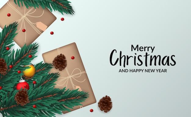 Рождественский постер шаблон плаката с иллюстрацией еловых листьев гирлянды с украшением сверху