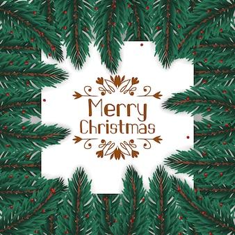 Рамка бордюрная из еловых листьев украшает гирлянду на рождество