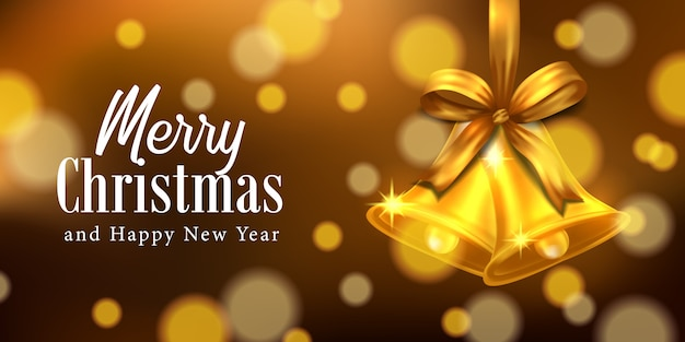 ボケ味のクリスマスパーティーイベントでエレガントな豪華なリボンと金と金の鐘