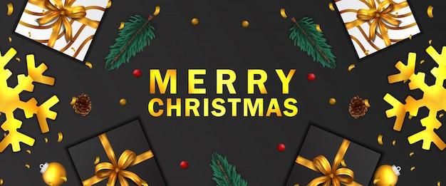 メリークリスマス、そしてハッピーニューイヤー。クリスマスバナー。金の紙吹雪、モミのトウヒの葉の花輪、安物の宝石、松ぼっくり、プレゼントボックス、スノーフレーク。