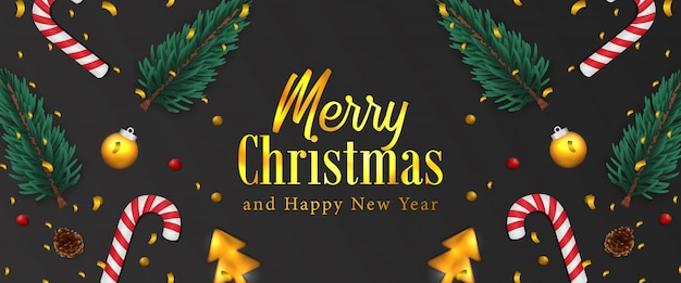メリークリスマス、そしてハッピーニューイヤー。クリスマスバナー。金の紙吹雪、モミのトウヒは花輪、安物の宝石、松ぼっくり、キャンデー杖を残します。