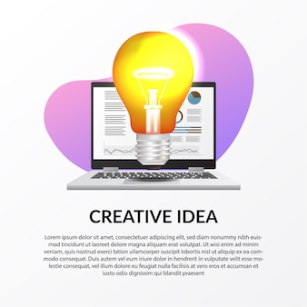 ビジネスの創造的な仕事のためのインフォグラフィックデータとラップトップで光ランプのイラスト