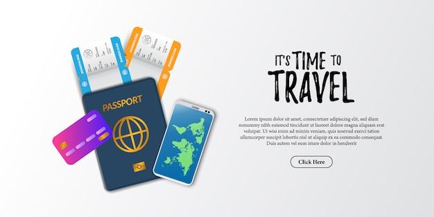 旅行休日ドキュメントイラスト。搭乗券の飛行機のチケット、パスポート、電話、クレジットカードのトップビュー。休日の観光広告