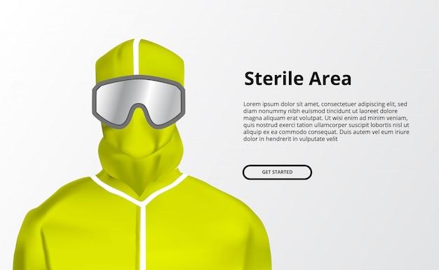 医療用の黄色い安全滅菌ガウン。パンデミックウイルスによる除染バナーの回避