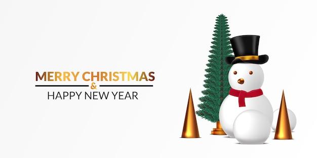 メリークリスマスと新年あけましておめでとうございますポスターバナーテンプレート。松の木の装飾と白い背景を持つゴールデンコーンと雪だるまのイラスト。豪華でエレガントな