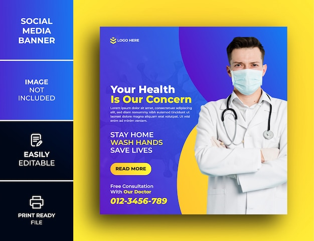 Медицинский баннер о коронавирусе, шаблон поста в социальных сетях