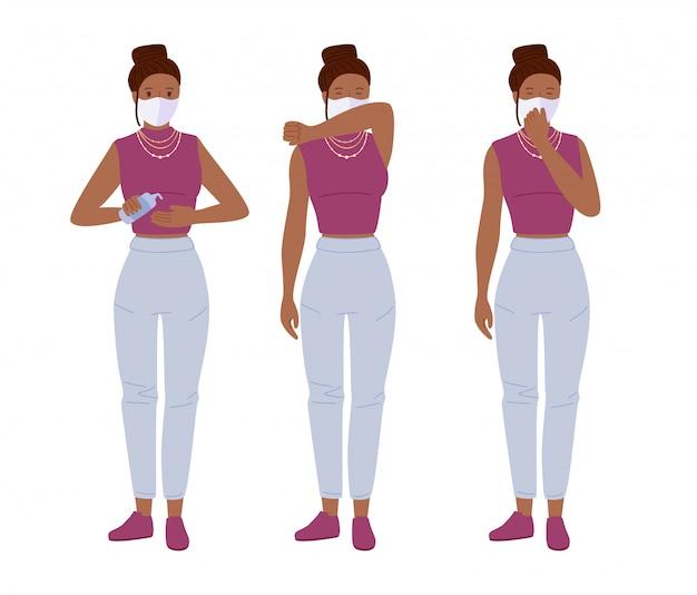 Молодая девушка в масках чихает. защита от коронавируса. используйте дезинфицирующее средство стоп ковид мультфильма