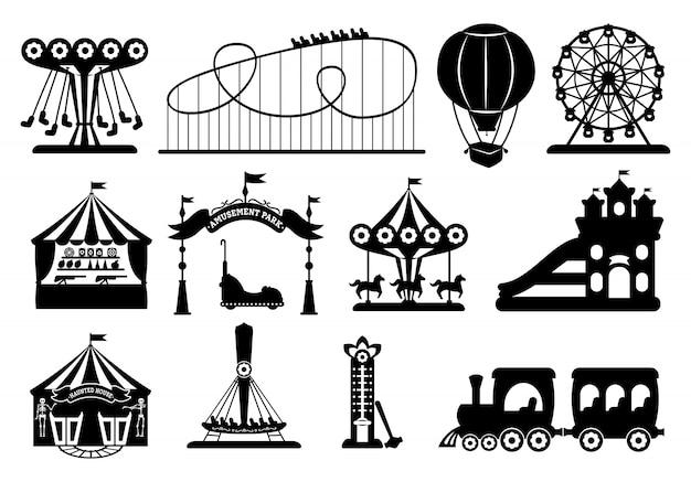 Парк развлечений черный глиф набор. карусель силуэт мультяшном стиле. ярмарочная площадь, американские горки, карусельная лошадь, воздушный шар, колесо обозрения. цирковые шатры летнего отдыха. иллюстрация
